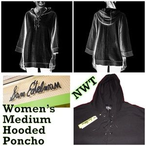 SAM EDELMAN Women's Medium Black Hooded Poncho NWT